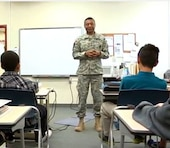 Lt. Gen. Thomas P. Bostick, Chief of Engineers and Commanding General of the U.S. Army Corps of Engineers, visited Zama American Middle School to meet and talk with students, who belong to the Science, Technology, Engineering, and Mathematics program known as STEM.