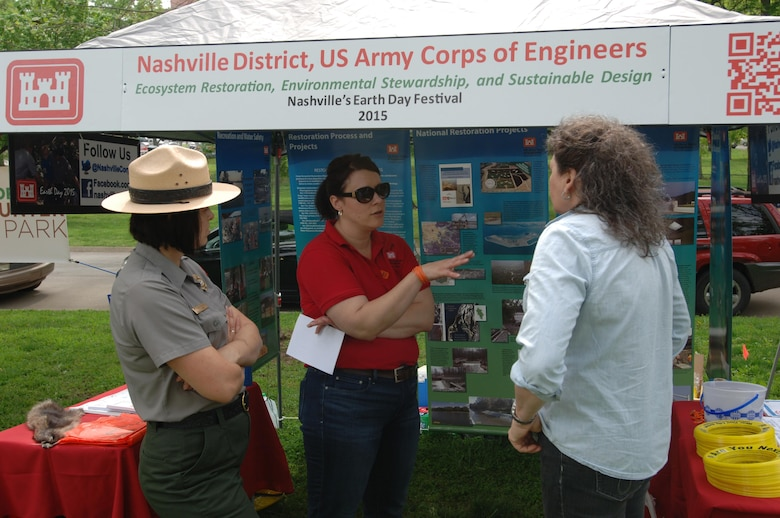 Biologist Mary Lewis (Center) and Park Ranger Amy Redmond (Left) provides information to a woman during the Nashville Earth Day Festival April 18, 2015 at Centennial Park. The Corps educated the public today about clean power, sustainability, restoration, water quality and water management.
