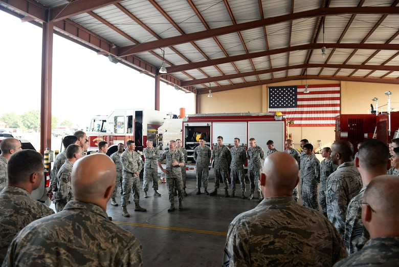 Chief Master Sgt. of the Air Force James A. Cody discusses the vital role of each Airman during a visit to the fire station April 14, 2015, at Joint Task Force - Bravo, Soto Cano Air Base, Honduras. Throughout the day, Cody made his way through each section of the 612th Air Base Squadron, meeting Airmen and touring facilities. (U.S. Air Force photo by Staff Sgt. Jessica Condit)