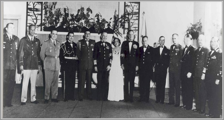 On April 16, 1961, US Air Force Chief of Staff Thomas D. White (7th from right) hosted a conference at Randolph Air Force Base, Texas. There the delegates proposed creating an organization that would help fortify the inter-institutional relations and planning of effective professional cooperation of the American Air Forces.  (Courtesy Photo)