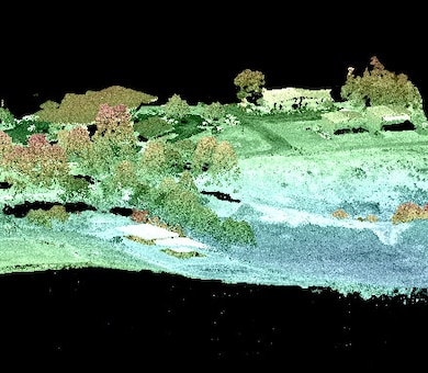 GRL conducts geospatial research, development, techhnology and evaluation of current and emerging geospatial technologies that will help characterize and measure phenomena within the physical (terrain) and social (cultural) environments encountered by the Army. (Image: A partially colorized HyperCube image generated from a Lidar point cloud.)