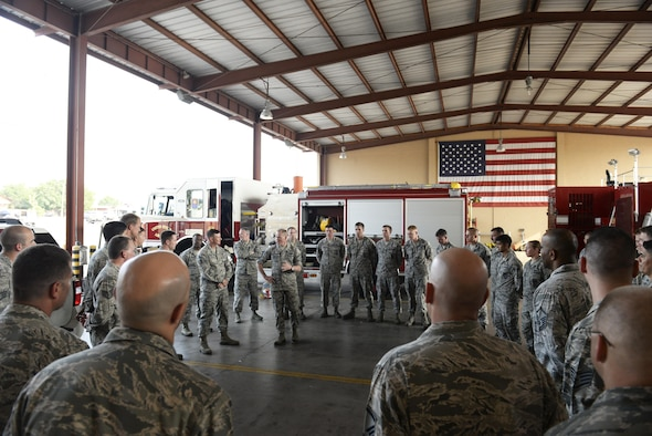Chief Master Sgt. of the Air Force James A. Cody discusses the vital role of each Airman during a visit to the fire station April 14, 2015, at Joint Task Force -Bravo, Soto Cano Air Base, Honduras. Throughout the day, Cody made his way through each section of the 612th Air Base Squadron, meeting Airmen and touring facilities. (U.S. Air Force photo/Staff Sgt. Jessica Condit)