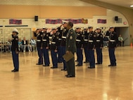 Dallastown MCJROTC's unarmed regulation drill team reporting in to request permission to utilize the drill deck.