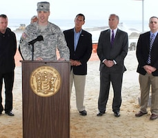 USACE Philadelphia District Commander Lt. Col. Michael Bliss joined Congressman Frank LoBiondo, NJDEP Commissioner Bob Martin, and state and local officials on April 17 to kickoff dredging and beachfill operations in Ocean City, N.J. as part of the Great Egg Harbor Inlet to Townsends Inlet project.