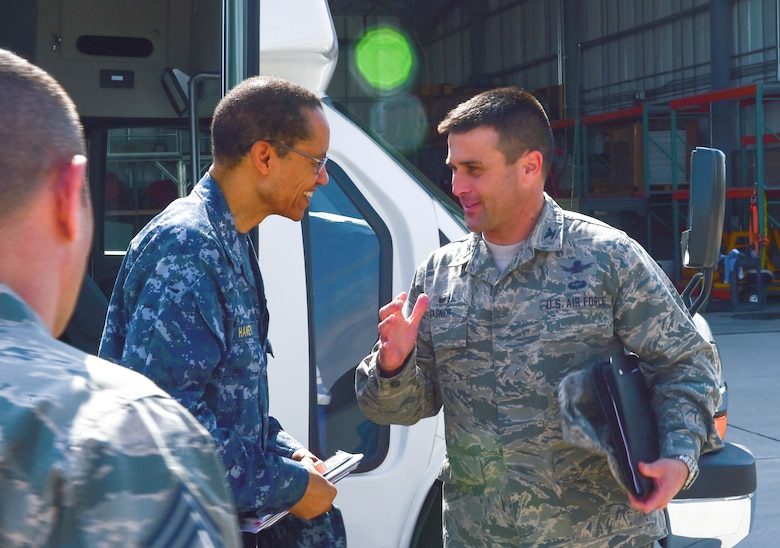 U.S. Navy Adm. Cecil D. Haney (center left), U.S. Strategic Command commander, is greeted by U.S. Air Force Col. John Wagner, 460th Space Wing commander, and members of his staff after arriving at Buckley Air Force Base, Colo., April 20, 2015. During his visit, Haney toured Buckley's missile alert facilities and met with Airmen and Sailors from the base to discuss their role in supporting USSTRATCOM's global strategic missions. USSTRATCOM is one of nine DoD unified combatant commands and is charged with strategic deterrence; space operations; cyberspace operations; joint electronic warfare; global strike; missile defense; intelligence, surveillance and reconnaissance; combating weapons of mass destruction; and analysis and targeting. (U.S. Air Force photo by Amn. 1st Class Luke W. Nowakowski)