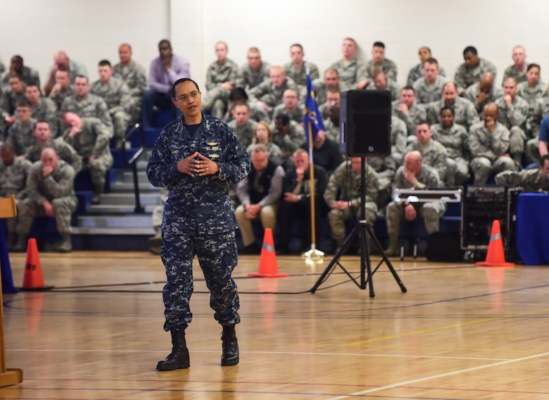 U.S. Navy Adm. Cecil D. Haney, U.S. Strategic Command commander, discusses how to overcome current and future strategic challenges during an all-hands call at Buckley Air Force Base, Colo., April 20, 2015. During his visit, Haney toured Buckley's missile warning facilities and met with Airmen and Sailors from the base to discuss their role in supporting USSTRATCOM's global strategic missions. USSTRATCOM is one of nine DoD unified combatant commands and is charged with strategic deterrence; space operations; cyberspace operations; joint electronic warfare; global strike; missile defense; intelligence, surveillance and reconnaissance; combating weapons of mass destruction; and analysis and targeting. (U.S. Air Force photo by Amn. 1st Class Luke W. Nowakowski)