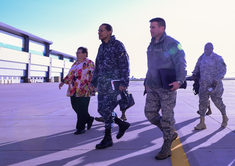 U.S. Navy Adm. Cecil D. Haney (second from left), U.S. Strategic Command commander, and U.S. Army Command Sgt. Maj. Patrick Z. Alston (right), USSTRATCOM senior enlisted leader, are greeted by U.S. Air Force Col. John Wagner, 460th Space Wing commander, and members of his staff after arriving at Buckley Air Force Base, Colo., April 20, 2015. During their visit, Haney and Alston toured Buckley's missile warning facilities and met with Airmen and Sailors from the base to discuss their role in supporting USSTRATCOM's global strategic missions. USSTRATCOM is one of nine DoD unified combatant commands and is charged with strategic deterrence; space operations; cyberspace operations; joint electronic warfare; global strike; missile defense; intelligence, surveillance and reconnaissance; combating weapons of mass destruction; and analysis and targeting. (U.S. Air Force photo by Amn. 1st Class Luke W. Nowakowski)