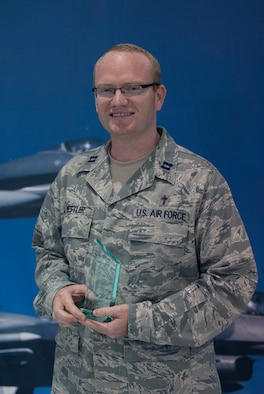 Capt. Nathan Mestler, a chaplain at the 162nd Wing was presented with the Drill Status Guardsmen of the Year award  during the 162nd Wing awards ceremony on April 12. (U.S. Air National Guard photo by Staff Sgt. Heather Davis)