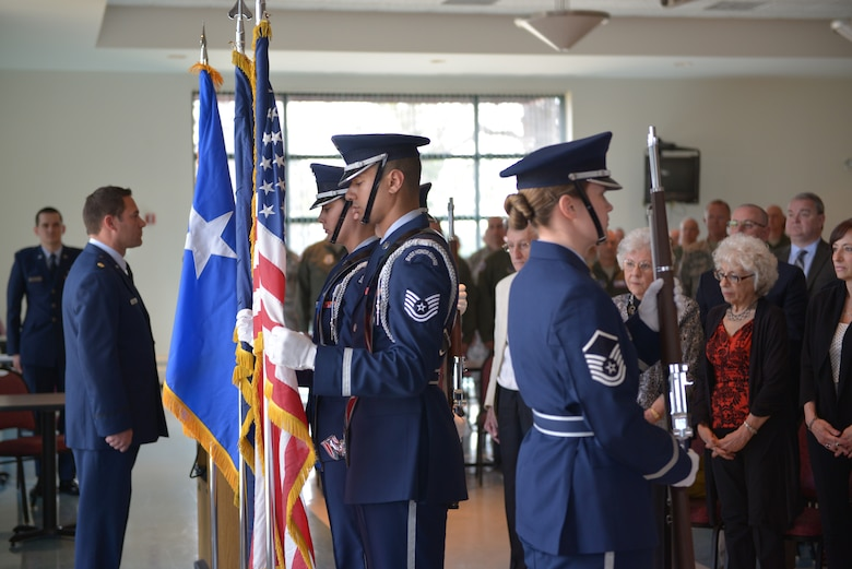 The Stratton Base Honor Guard posts the colors at the promotion ceremony of Col. Alan Ross, 109th Airlift Wing vice commander, at Stratton Air National Guard Base, New York, on April 19, 2015. Ross took over as vice commander in October of 2014. (U.S. Air National Guard photo by Mater Sgt. William Gizara/Released)