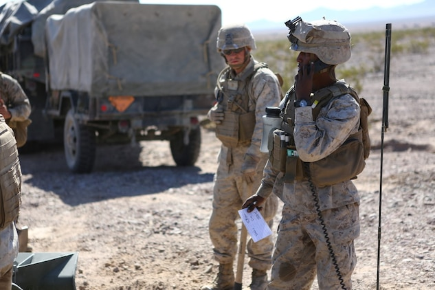 Corporal Osmar S. Gorish, a section chief for Battery A, 1st Battalion, 11th Marine Regiment, 1st Marine Division, verifies that his M777 155mm Howitzer is adjusted correctly during Exercise Desert Scimitar 2015 aboard Marine Corps Air Ground Combat Center Twentynine Palms, Calif., April 20, 2015. The tough, realistic live-fire training central to Desert Scimitar allows Division units to train in order to maintain readiness and meet current and real-world operational demands.