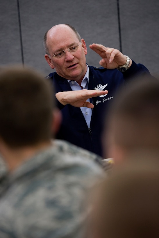 Lt. Gen. James Jackson, Chief of Air Force Reserve and Air Force Reserve Command commander, speaks to Airmen during a breakfast with seasoning training Airmen at Grissom Air Reserve Base, Ind., April 17, 2015. During the breakfast the general discussed the future of AFRC and the critical role new Airmen play in sustaining its mission. (U.S. Air Force photo/Tech. Sgt. Benjamin Mota)