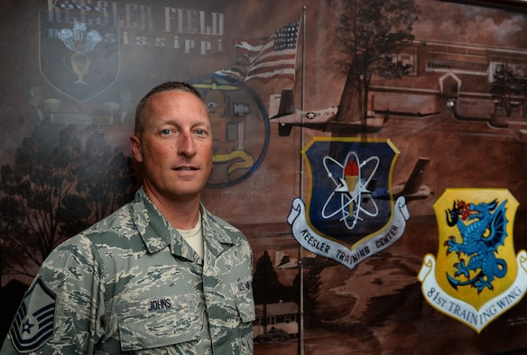 Master Sgt. Brian Johns, 81st Training Wing career assistance advisor, poses for a photo at the Airman Leadership School, April 16, 2015, Keesler Air Force Base, Miss. Johns has held this duty position since 2013. (U.S. Air Force photo by Airman 1st Class Duncan McElroy)