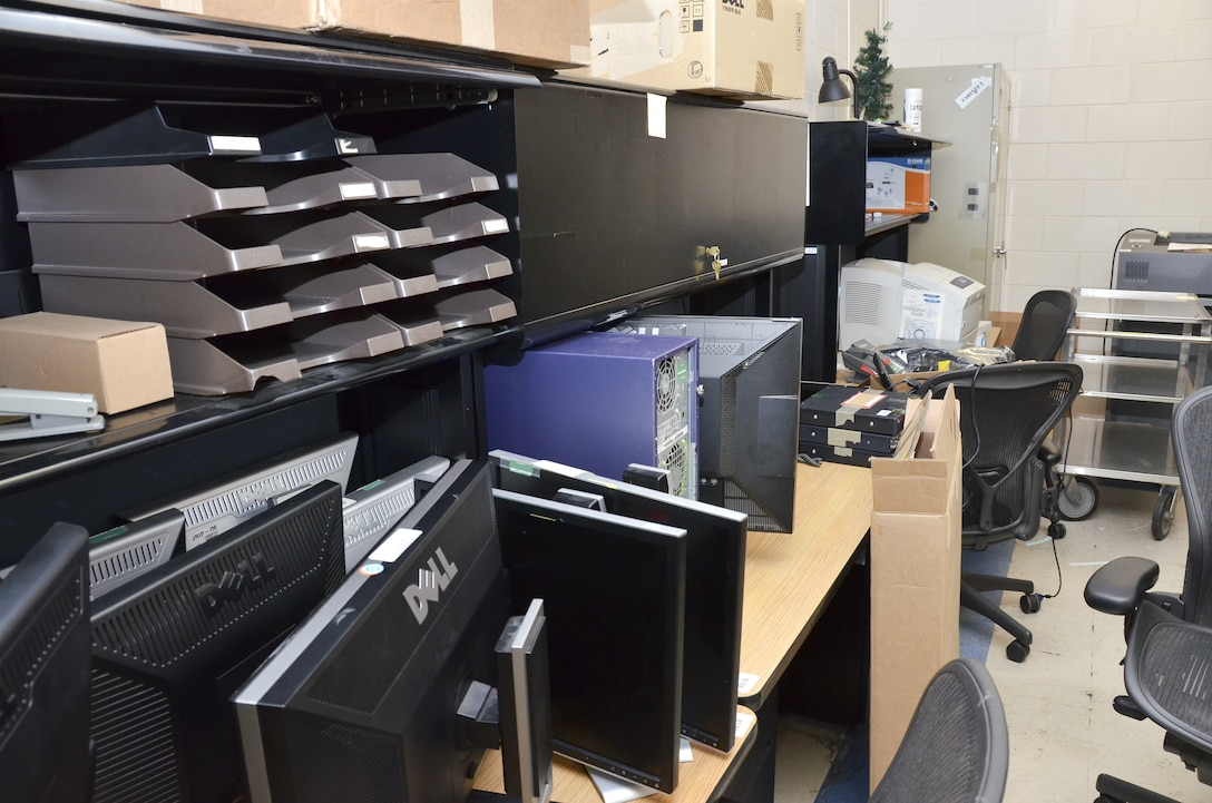The Intelligence Squadron at the 117th Air Refueling Wing chose this IT storage room as part of a plan to clean up, organize much needed space, and work more efficiently. (U.S. Air National Guard photo by: Senior Master Sgt. Ken Johnson/Released)