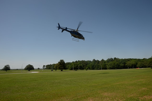 Georgia State Patrol Aviation Division personnel provide air support during the Raging Renegade active-shooter exercise, here, April 21. The helicopter gave an aerial tactical advantage to Marine Corps Logistics Albany's law enforcement and assisted the Marine Corps Police Department in locating and apprehending one of two suspects during the simulated incident.