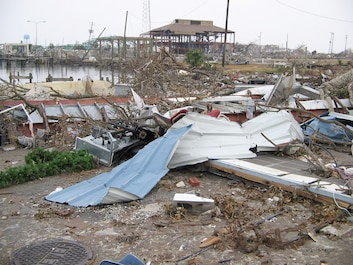 Coast Guard Station Gulfport Mississippi destroyed by Hurricane Katrina.