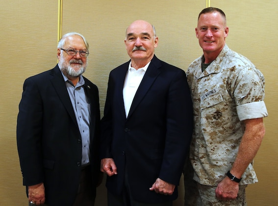 Dr. Robert Weisenmiller, left, chair of the California Energy Commission, the Honorable Dennis McGinn, center, Assistant Secretary of the Navy (Energy, Installations and Environment) and Brig. Gen. Edward D. Banta, left, Commanding General, Marine Corps Base Camp Pendleton, Marine Corps Installations - West, pose for a photograph during the Department of Navy – California Agency Meeting held at the Pacific Views Events center here, April 23. 