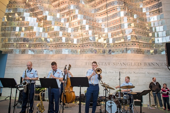 A sextet from the Airmen of Note performed three sets in the main hall of the National Museum of American History on April 10th for the Smithsonian's Jazz Appreciation Month series.(US Air Force photo by Senior Master Sgt Kevin Burns/ released)