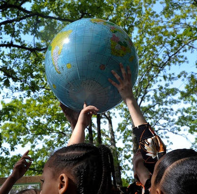 Arnold Drive Elementary School students observe Earth Day April 22, 2015, at Little Rock Air Force Base, Ark. Students learned about different environmental concerns as well threatened and endangered animals.