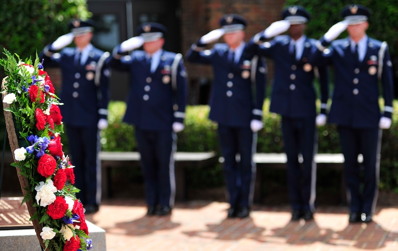 The honor guard pays their respect during the Operation Eagle Claw memorial ceremony on Hurlburt Field, Fla., April 24, 2015. (U.S. Air Force photo/Staff Sgt. Melanie Holochwost)