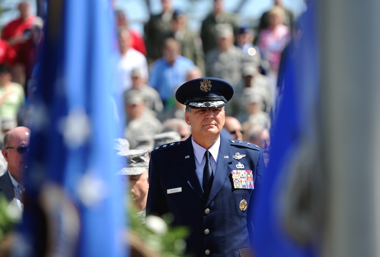 Lt. Gen. Bradley Heithold, Air Force Special Operations Command commander, stands before the presentation of the colors during a ceremony commemorating the 35th Anniversary of Operation Eagle Claw at the airpark on Hurlburt Field, Fla., April 24, 2015. Operation Eagle Claw was an attempted rescue mission April 24, 1980, into Iran to recover more than 50 American hostages captured after a group of  radicals took over the American embassy in Tehran Nov. 4, 1979. The mission resulted in the deaths of eight American service members at a remote site deep in Iranian territory known as Desert One. (U.S. Air Force Photo by Staff Sgt. Katherine Holt)