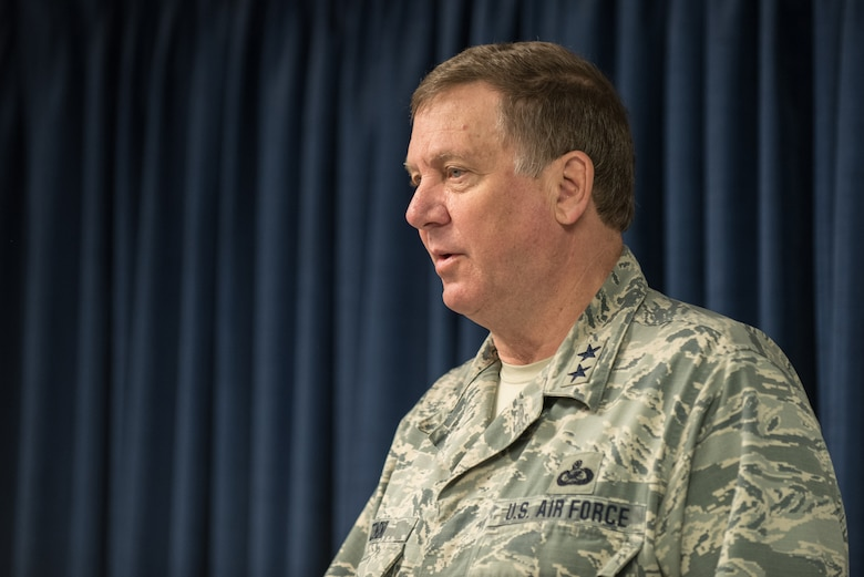 Kentucky's adjutant general, Maj. Gen. Edward W. Tonini, speaks to more than 40 members of the 123rd Airlift Wing at the Kentucky Air National Guard Base in Louisville, Ky., April 24, 2015, prior to the Airmen's deployment to an undisclosed air base in the Persian Gulf region. The troops, who left aboard a Kentucky Air Guard C-130 Hercules aircraft, comprise the third rotation of 123rd Airmen to deploy to the base since February. The Air Guardsmen will be flying airlift missions throughout the U.S. Central Command Area of Responsibility in support of Operation Freedom's Sentinel, which provides military training and counterterrorism capabilities in Afghanistan. (U.S. Air National Guard photo by Maj. Dale Greer)