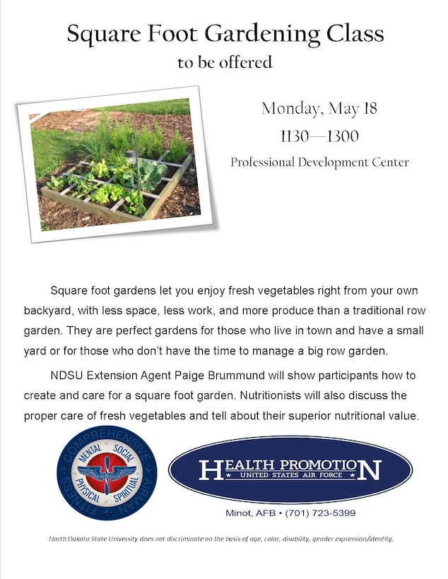 Square foot gardening is a part of Wingman Week on base to promote resiliency for Airmen and their families.