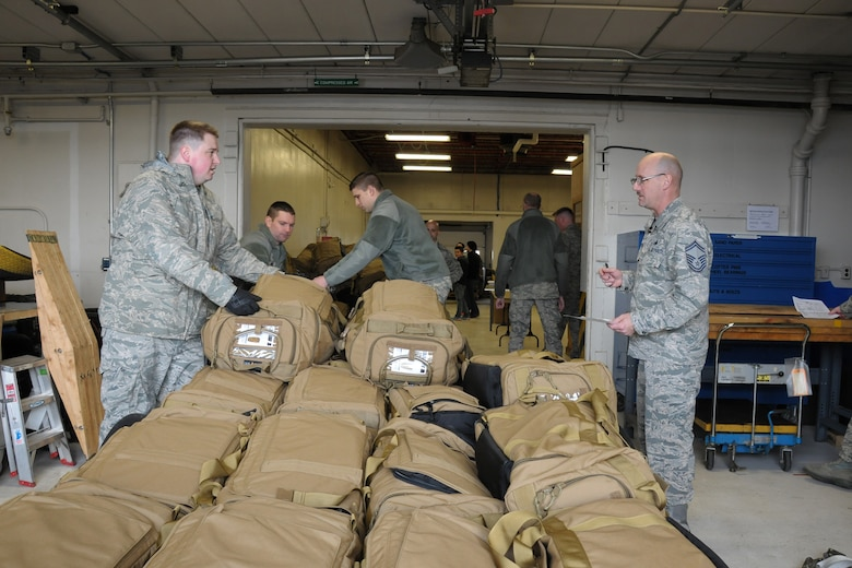150308-Z-YW189-015 --  Mobility bags are prepared for Airmen of the 127th Wing who recently deployed to Southwest Asia. The deployment involved a total team effort around the wing. (U.S. Air National Guard photo by Staff Sgt. Samara Taylor)