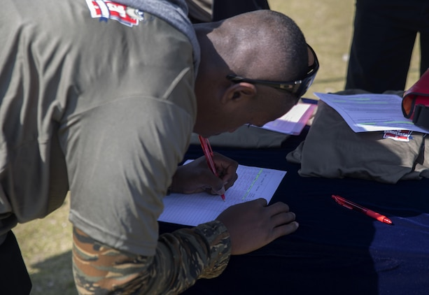Lance Cpl. Kishun Parrott, a warehouseman with Combat Logistics Company 36, signs up for the Day of service event hosted by the Single Marine Program aboard Marine Corps Air Station Iwakuni, Japan, April 22, 2015. The Day of Service was an event made to show appreciation for the service members who have been volunteering with the SMP. They began the day picking up trash on and off base, afterwards they joined together at Penny Lake where SMP provided games, activities and refreshments for the volunteers.