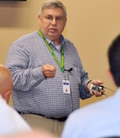 Steve Chaffin, a resource efficiency manager at AMRDEC, shares what he's doing to improve energy efficiency and management across the command's 1.9 million square feet of facilities during the REM workshop at the Diane Campbell Conferencing Center on Redstone Arsenal April 15-17.