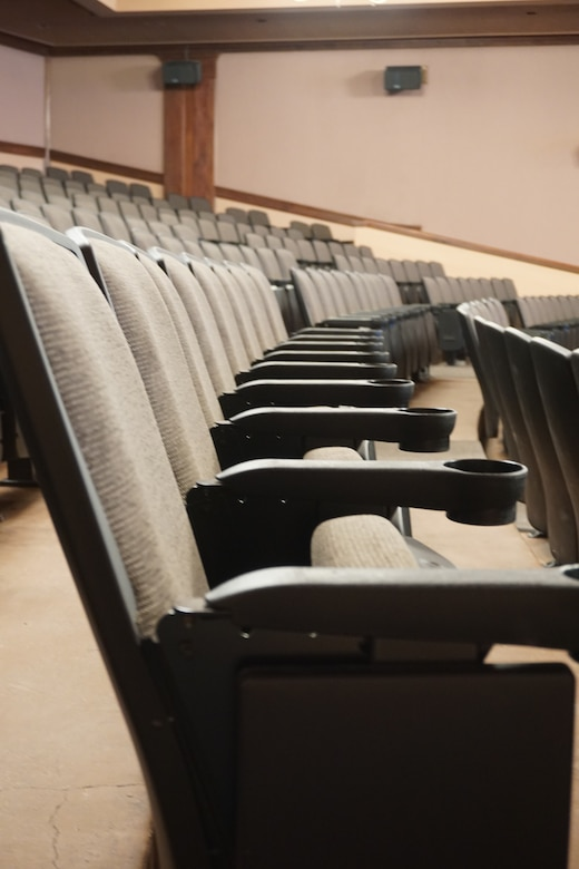 The theater on F.E. Warren Air Force Base, Wyo., reopened April 25, 2015, after replacing their carpets and chairs. The theater was closed for over a month due to the improvement. (U.S. Air Force photo by Airman 1st Class Malcolm Mayfield)