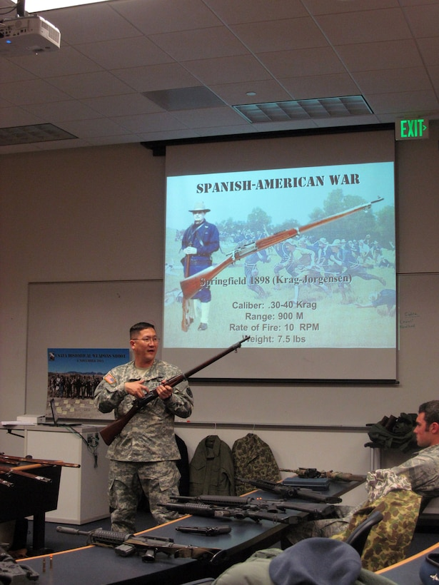 U.S. Army Lt. Col. Nathan Watanabe, a history professor at the Air Force Academy, shows an M1898 Krag-Jorgensen rifle to a class of Academy cadets April 19, 2015, at Fort Carson. The cadets took part in an Academy Historical Weapons Shoot and handled and fired 27 historic military firearms, including the 1766 Charleville Musket, the 5.56mm M16A4 Rifle and the M4 Carbine, to better understand the small arms used by the U.S. military throughout its history. (Lt. Col. Don Langley)