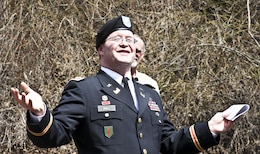 Thanking everyone for attending, Lt. Col. Gerald Dull, Pittsburgh District deputy commander, praised the good weather at the ribbon cutting at the Tub Run Campground in Confluence, Pa., April 9.