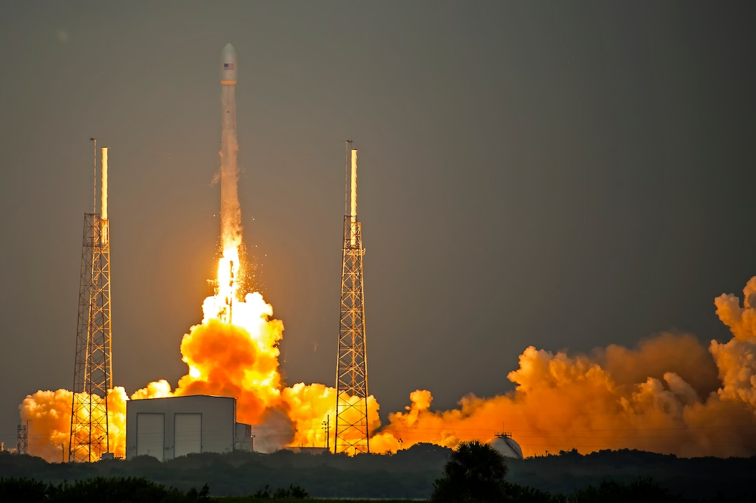 For the second time in an 14-day span, the U.S. Air Force's 45th Space Wing conducted another successful launch on the Eastern Range from Launch Complex 40 April 27, 2015 at 7:03 p.m. EDT. (John Studwell / AmericaSpace)