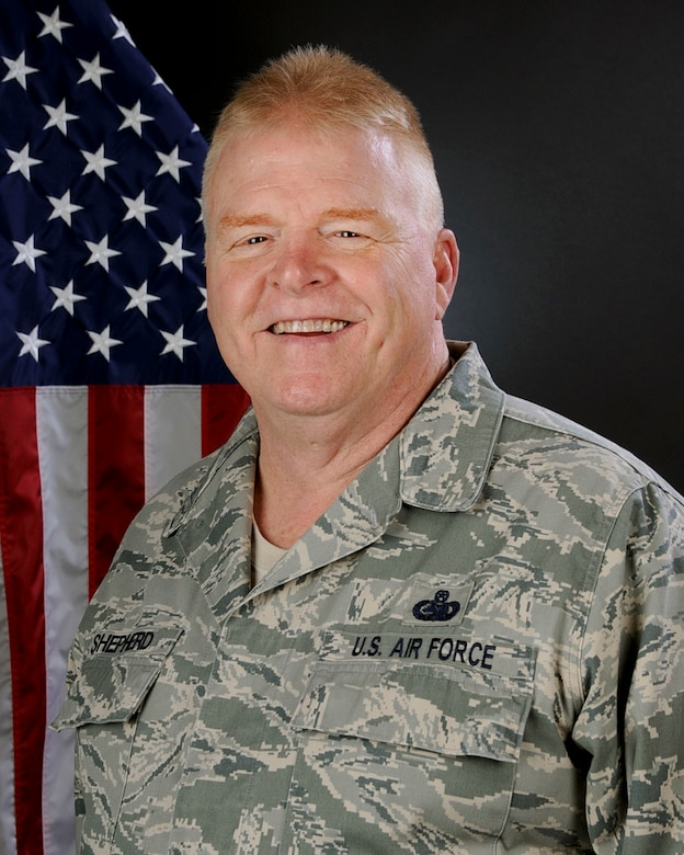 U.S. Air Force Chief Master Sgt. Lee Shepherd, 169th Fighter Wing Safety and Occupational Health Manager with the 169th Operations Group, South Carolina Air National Guard at McEntire Joint National Guard Base, April 28, 2015.  (U.S. Air National Guard photo by Tech. Sgt. Caycee Watson/Released)