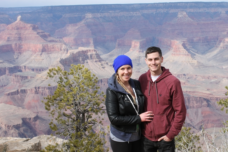 Staff Sgt. Benjamin Vanney, 366th Security Forces Squadron working dog handler, and his wife, Emma, pose for a photo at the Grand Canyon during a vacation. The Vanneys spend much of their free time outdoors. (Courtesy photo)