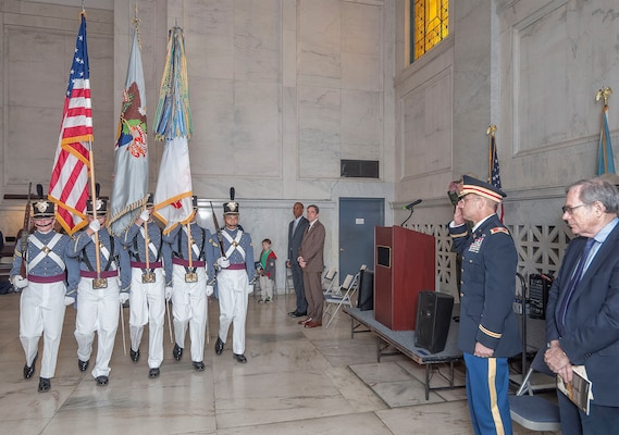 Col. William Graham, Commander, North Atlantic Division of the U.S. Army Corps of Engineers renders a salute during the Presentation of the Colors during a special birthday observance held April 27, 2015 at the General Grant National Memorial Monument in New York City in honor of Ulysses S. Grant – Union General in the Civil War, and 18th President of the United States.