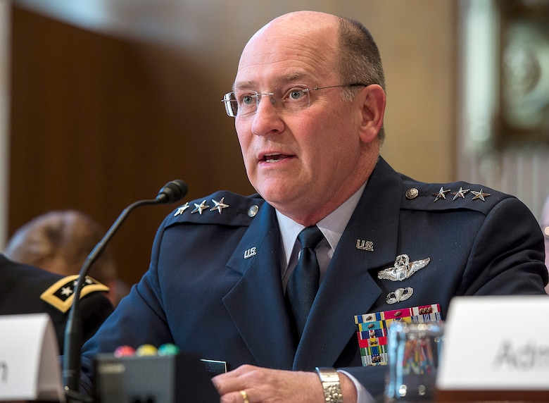 Air Force Reserve Chief Lt. Gen. James Jackson testifies before the Senate Appropriations Committee Subcommittee on Defense, to answer questions pertaining to the fiscal year 2016 funding request and budget justification for the U.S. National Guard and Reserve, in Washington, D.C., April 29, 2015. Testifying with Jackson, on behalf of the Air National Guard, was Air National Guard Director Lt. Gen. Stanley E. Clark III. (U.S. Air Force photo/Jim Varhegyi)