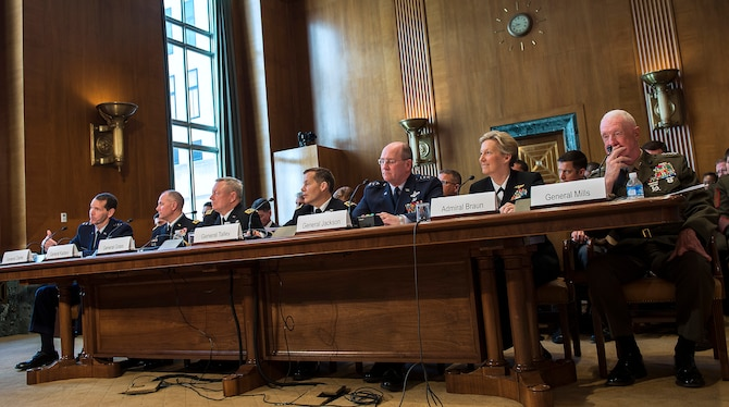 Air National Guard Director Lt. Gen. Stanley E. Clark III, far left, testifies before the Senate Appropriations Committee Subcommittee on Defense, to answer questions pertaining to the fiscal year 2016 funding request and budget justification for the U.S. National Guard and Reserve, in Washington, D.C., April 29, 2015. Among others, Clark testified before the Senate with Air Force Reserve Chief Lt. Gen. James Jackson. (U.S. Air Force photo/Jim Varhegyi)