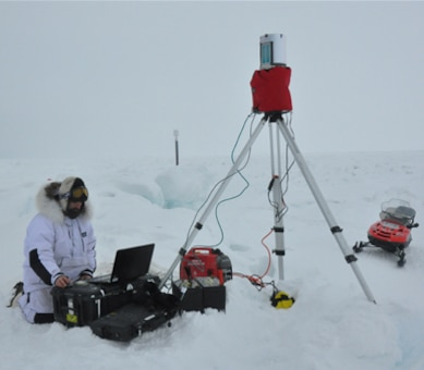ERDC's Drs. Chris Hiemstra and Chris Polashenski of CRREL-Alaska traveled to Barrow, Alaska, to participate in a field experiment surveying Arctic Ocean sea ice and snow.