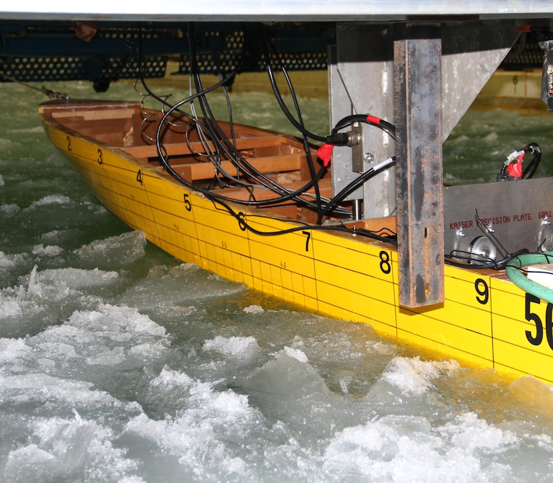 CRREL uses the Test Basin to conduct a scaled physical model study for the U.S. Coast Guard to study the capabilities, limitations, and potential design improvements to the Coast Guard's personnel rescue vessels in seasonal sea ice conditions encountered in coastal Alaska.