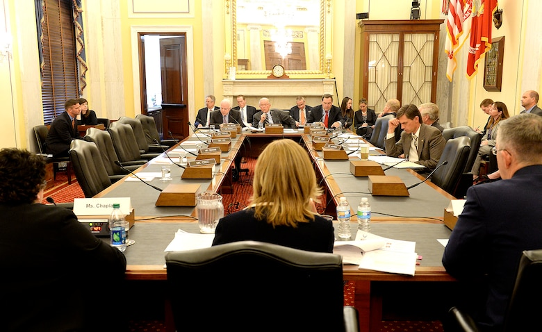 Secretary of the Air Force Deborah Lee James and Gen. John E. Hyten, commander of Air Force Space Command, testify before the Senate Armed Services Committee, Subcommittee on Strategic Forces in Washington, D.C., April 29, 2015. James stated during the hearing that space-based capabilities and effects are vital to U.S. warfighting, homeland security and the country's way of life. James and Hyten also testified with Cristina T. Chaplain, director of Acquisition and Sourcing Management Government Accountability Office. (U.S. Air Force photo/Scott M. Ash)