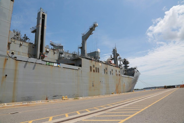 The USNS Lewis and Clark dry cargo/ammunition ship docks at Blount Island Command for shipment of supplies and equipment on April 8, 2015.