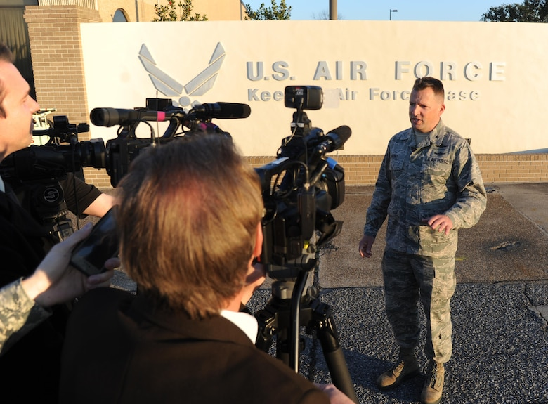Brig. Gen. Patrick Higby, the 81st Training Wing commander, addresses local media during a press conference Feb. 11, 2015, on the flightline at Keesler Air Force Base, Miss. From his cradle in a small village in western Germany to the position of the 81st Training Wing commander, Higby has learned the value of being a military child . (U.S. Air Force photo/Kemberly Groue)