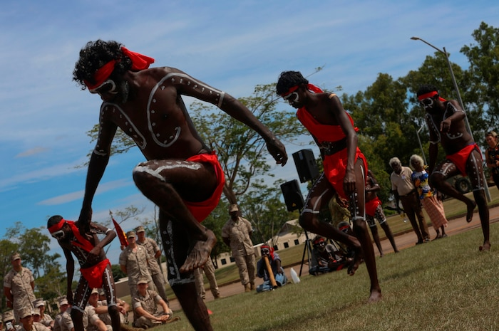 """Aboriginal dancers perform for U.S. Marines with Marine Rotational Force – Darwin during a """"Welcome to Country"""" ceremony April 22 at Robertson Barracks, Palmerston, Australia. Brigadier Mick Ryan, commander, 1st Brigade, Australian Army, Australian Defence Force, spoke about the relationship between the Marines and Australians during the MRF-D deployment, and introduced Marines to aboriginal culture by inviting the Kenbi Dancers to conduct a welcoming performance.  MRF-D is the deployment of U.S. Marines to Darwin and the Northern Territory, for approximately six months at a time, where they will conduct exercises and training on a rotational basis with the ADF. (U.S. Marine Corps photo by Lance Cpl. Kathryn Howard/Released)"""