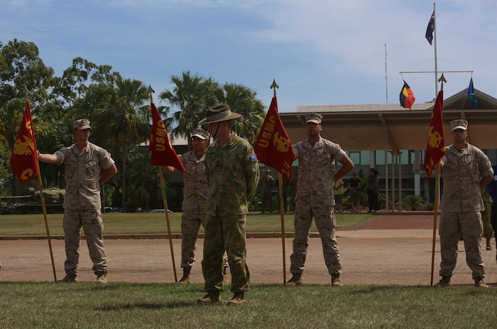 "Brigadier Mick Ryan, commander, 1st Brigade, Australian Army, Australian Defence Force, welcomes the Marines with Marine Rotational Force – Darwin during a ""Welcome to Country"" ceremony on April 22 at Robertson Barracks, Palmerston, Australia. Brigadier Ryan spoke about the relationship between the Marines and Australians during the MRF-D deployment, and introduced Marines to aboriginal culture by inviting the Kenbi Dancers to conduct a welcoming performance.  MRF-D is the deployment of U.S. Marines to Darwin and the Northern Territory, for approximately six months at a time, where they will conduct exercises and training on a rotational basis with the ADF. (U.S. Marine Corps photo by Lance Cpl. Kathryn Howard/Released)"