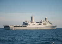 The amphibious transport dock ship USS Green Bay (LPD 20) transits the Philippine Sea. Green Bay is part of the Bonhomme Richard Amphibious Ready Group and, with the embarked 3rd Marine Expeditionary Force, is currently participating in exercise Balikatan 2015.