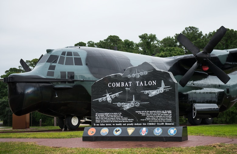 A new Combat Talon memorial stone was placed near former 919th Special Operations Wing's MC-130E Combat Talon I aircraft 64-0567 at Hurlburt Field's airpark April 24.  The stone serves as a memorial to the MC-130E aircraft and to the Operation Eagle Claw mission in 1980.  (U.S. Air Force photo/Tech. Sgt. Jasmin Taylor)