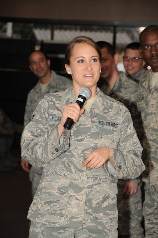 Staff Sgt. Tressa Planeta, 161st Force Support Squadron fitness specialist, participates, along with nearly 700 Airmen, in the annual Sexual Assault Prevention and Response training at the 161st Air Refueling Wing, Phoenix, April 12. Sexual assaults in the military decreased in 2014, according to a Rand survey. (U.S. Air National Guard photo by Tech. Sgt. Courtney Enos)