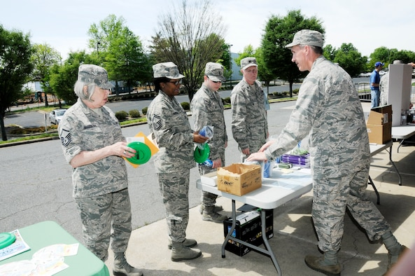 The 145th Airlift Wing held an Environmental Education Day organized by Wing Environmental Manager, Lt. Col. Sam Ingram at the North Carolina Air National Guard base, Charlotte Douglas Intl. Airport, April 18, 2015. Several agencies participating in community programs relating to recycling, water quality and environmental restoration attended the event.  Airmen were given the opportunity to learn more about local environmental initiatives within the community, at home and at work. (U.S. Air National Guard photo by Master Sgt. Patricia F. Moran, 145th Public Affairs/Released)