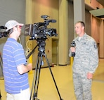 Master Sgt Chris Roberts was interviewed by WJTV-TV for the evening news. Roberts discussed the importance of the 318th FTDs impact on the Air National Guard. Photo by Tech. Sgt Betsy Winstead.